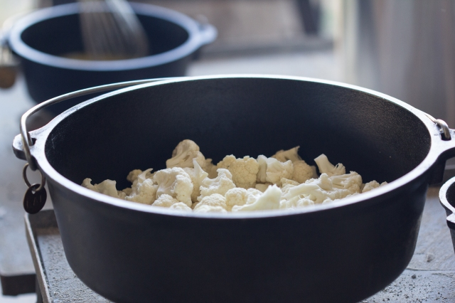 Cauliflower in a big black pot