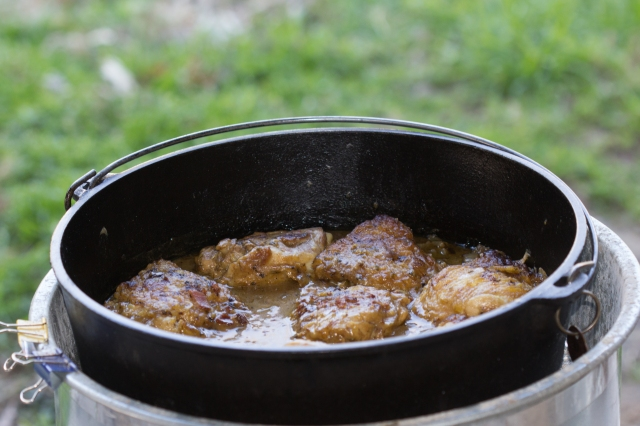 Chicken in Wine Sauce in 14-Inch Dutch Oven